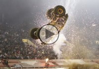 Monster Trucks doing double back-flips! Audience high on adrenaline!