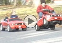 Battle of the Mustangs: Modified gas powered Powerwheels vs. Stock electric!