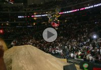 Travis Pastrana doing double back-flip on two wheels!