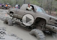 Two girls get stuck in the mud in a big bad Chevy truck!