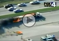 Craziest police chase ever! Stolen loaded truck on fire!
