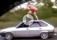 Crazy Russian doing drunk stunts! Vodka and everything is possible!