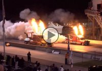 A Jet Drag Race between two Shockwave Jet powered semi trucks!!!