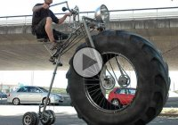 The Monsterbike! Basically a bicycle, with one tractor tire!