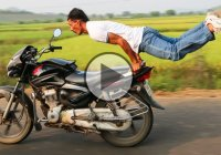 This Man Is Doing His Morning Yoga Workout … on a SPEEDING MOTORBIKE!!!
