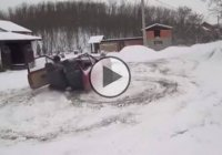 Meanwhile in Bosnia: Crazy drifting on snow in a unique ride!