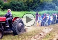 The funniest Tug of War ever! – 30 men vs. a farming Tractor!
