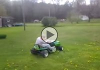 A modified John Deere lawn mower that goes really fast!