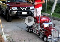 A miniature RC Peterbilt 359 semi truck – a powerful toy!