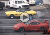 Toyota Supra vs classic Dodge Challenger drag race!