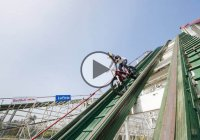 Julien Dupont and his Trials Motorcycle on a Roller Coaster ride!