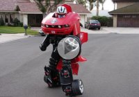 Real life Transformer Drew Beaumier drives around in his driving suit!