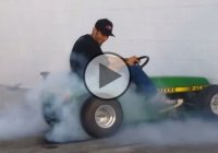 World's fastest lawn mower doing donuts and burnouts!!!