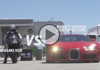 2015 Kawasaki H2R vs Bugatti Veyron Supercar – 1/2 Mile Drag Race!