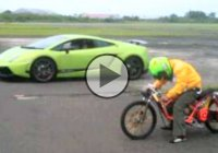 Lamborghini vs Yamaha Moped Crazy Drag Race!