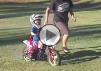 2 Year Old Boy Can't Get Enough Of His Dirtbike!
