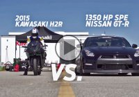 The 2015 Kawasaki H2R Takes On 1350 Hp Nissan GTR – 1/2 Mile Drag Race!