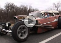 An insane 1957 Chevy Wagon Rat Rod that's turning heads!