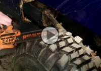 The hillbilly way of re-grooving your tires – with a chainsaw!