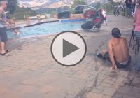 Step By Step Tutorial On How To Wheelie A Motorcycle Into A Pool!