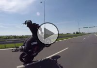 Crazy Rider Does Backwards Wheelie At 100 mp/h!