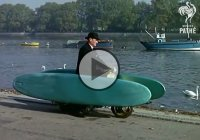 Surfing Boards Mounted On A Scooter – An Unusual & Ridiculous Way To Cross River Thames!