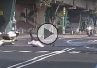 A policeman fails to beak for a speed bump and flies head over heels off the bike!