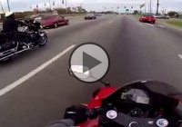 Police officer with his Harley Davidson vs. rider with his Honda CBR600RR!!