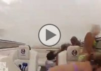 A boat crash sent seven passengers flying during a power boat race!