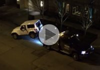 Tow truck is towing a Jeep with a person inside – Must see!!!