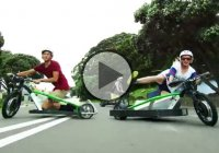 Kiwi drifters with motorized Drift Trikes at the Blokart Recreation Park!