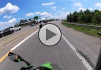 Motorcycle Rider Crashes Into A Truck On A Highway!