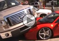 Ferrari 458 Italia with only 500 miles on the clock ran over by a Ford F150 pickup!