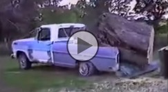 Ford pickup truck vs. a tree! Guess who won!