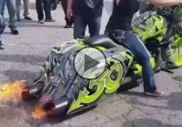 Huge flame throwing chopper covered in graffiti!!!