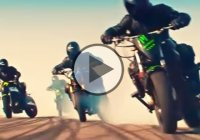 Drifting, wheelies, stoppies, riding backwards and setting a man on fire!