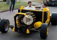 Life size Lego car that is drivable and runs on air!!