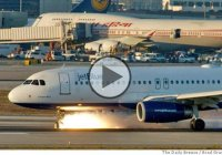 JetBlue Airways Flight 292 burning the nose tires during emergency landing at LAX!