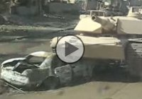 M1 Abrams battle tank rolls over a car bomb and saves the day!