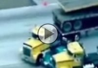 Truckers help the Police to end a car pursuit!