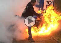 When A Motorcycle Burnout Is Going Even Too Well!