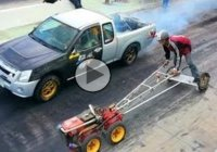 Insane Drag Race: Kubota Farm Tractor leaves V8 Turbo Mitsubishi Pick-up Truck in the Dust!