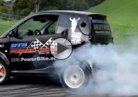 Hayabusa powered Smart car is doing some sick burnouts and doughnuts!