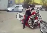 'The Red Baron' Chopper With Radial Airplane Engine!!!