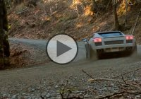 The Lamborghini WRC is put on the off-road test where it's burning up some tires!
