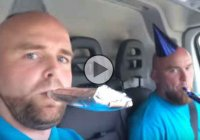 These brothers are celebrating a special occasion: Their van passed 100.000 miles!