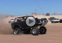 Cool Ford Bronco doing wheelies at Silver Lake sand dunes, Michigan!