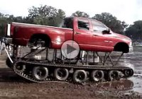 This lifted and tracked Dodge RAM truck is perfect for the muddy creeks!