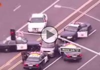 Funny Police car chase of a very crazy woman behind the wheel!