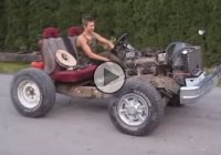 Check out this funny Frankenstein Go Kart doing burnout!